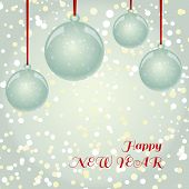Christmas New Year greeting card with balls on snowflakes background