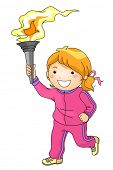 Illustration Featuring a Young Female Torchbearer
