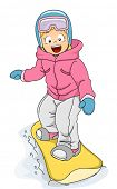 Illustration Featuring a Girl Snowboarding Down a Slope