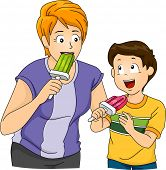 picture of popsicle  - Illustration Featuring a Mother and Son Eating Popsicles - JPG