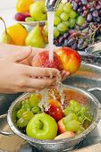 Woman's hands washing peaches and other fruits in colander in sink