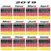 Germany Calendar Of 2019.