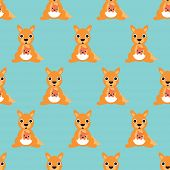 Seamless retro kangaroo mother and baby illustration kids background pattern in vector