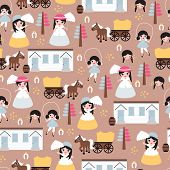 Seamless western costume girl horse ranch and carriage kids illustration background pattern in vector