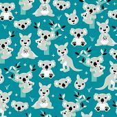 Geometric blue australian kangaroo and koala bear kids illustration background pattern in vector