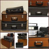 Collage of retro travel suitcases