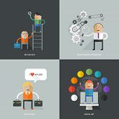 Set of flat design concept images for infographics, business, web, service, education
