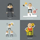 Set of flat design concept images for infographics, business, web, mobile marceting, securiry