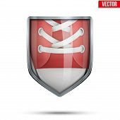 Bright shield in the running shoes inside. Vector.