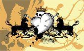 heraldic heart arrows crest background4
