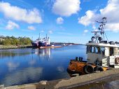 Freighters and tug boat scenic