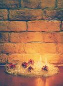 candles against a brick wall, retro filtered, instagram style