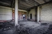 interior of an old abandoned unfinished building
