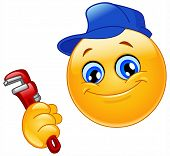 stock photo of smiley face  - Vector emoticon design of a smiley repairman - JPG