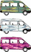 Camouflage mini-bus: Glamour Pink, Winter Snow, Classical Forest
