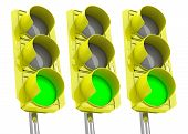 the green traffic lights