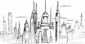 City Skyline Sketch Vector Drawing Illustration Art
