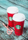 Cup of Starbucks holiday beverage peppermint mocha