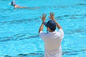 The Referee Signals In Water Polo Competition