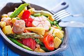 fried vegetables with meat