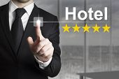 Businessman Pushing Button Hotel Five Star Rating