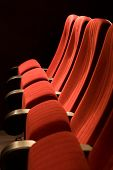 big red chairs in the cinema   interior
