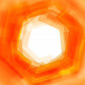 Vector background with orange blurred hexagon