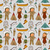 Native American, Indian culture vector seamless pattern