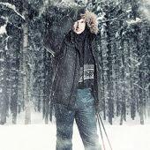 Young Man Wearing Black Fur Hood Winter Jacket