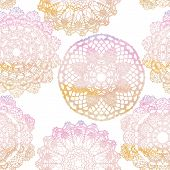 Seamless pattern of Elegant lacy watercolor doilies.