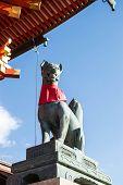 stock photo of inari  - Fox statue in Fushimi Inari shrine at Kyoto - JPG
