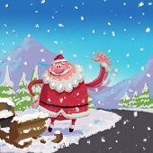Cartoon Santa Claus Hitchhike Road Side Broken Luge Accident  Concept