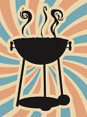 BBQ Silhouette Swirl Blue Red Vector
