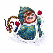 Owl Snow-maiden in coat character Vector Watercolor isolated.
