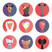 Set Avatars Animals (female) Flat Style.