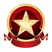 golden star with diamonds on red circle stage with blank banner
