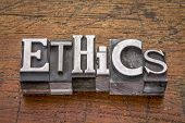 foto of ethics  - ethics  word in mixed vintage metal type printing blocks over grunge wood - JPG