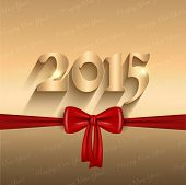 Happy New Year background with a glossy red bow