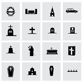 pic of hearse  - Vector funeral icon set on grey background - JPG