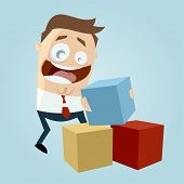 funny businessman playing with colorful boxes