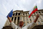 Man With Bulgarian And Eu Flags