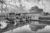Rome Castel Sant Angelo Black And White