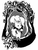 Character gothic girl in a gloomy frame
