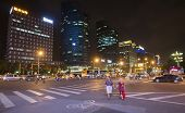 Chinese Street Intersection At Night