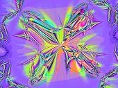 Energy field in shape of butterfly  in purple and green
