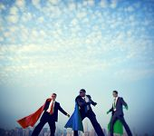 Superhero businessmen infront of New York City