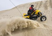 Atv Rider Spraying Sand