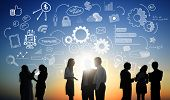 Business People Teamwork Social Media Finance Concept