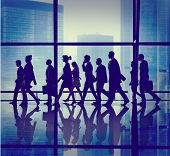 Silhouette Group of People Walking Concept