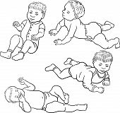 four sketch of baby